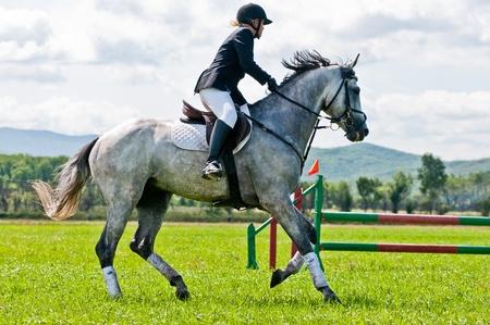 """ARSENEV, RUSLAND - SEPTEMBER 03: Niet geïdentificeerde ruiter in actie ritten paardenshow springt op de Riding show """"De Beker van de gouverneur van de Primorsky Territory, 2011"""" op 03 september 2011 in Arsenev, Rusland"""