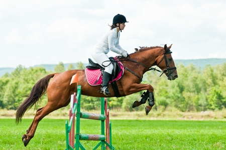 salto de valla: ARSENEV, Rusia - 03 de septiembre: piloto no identificado en los paseos de acci�n salta del caballo muestran en la feria de equitaci�n Editorial