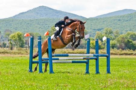 caballo saltando: ARSENEV, Rusia - 03 de septiembre: piloto no identificado en los paseos de acción salta del caballo muestran en la feria de equitación Editorial