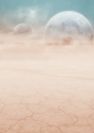 Extraterrestrial imaginary scenery of an alien world with enormous moons on the sky Stock Photo