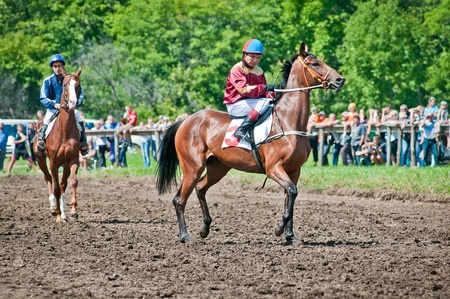 ARSENEV, RUSSIA - SEPTEMBER 03   Unidentified riders race horses on Riding show  The Cup of the Governor of the Primorsky Territory, 2011  on Sept 03, 2011 in Arsenev, Russia
