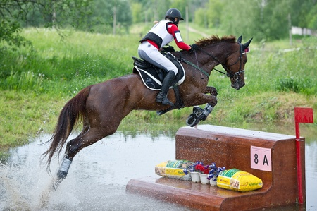 """MOSCOW - JUNE 02  Unidentified rider on horse is overcomes the obstacle at the International Eventing Competition CCI3  2  1  """"Russian Cup Eventing"""" June 02, 2012 in Moscow, Russia"""