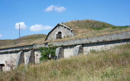azov sea: Ruins ancient old securely fastened and hidden military fort-base on Black and Azov Sea coast in Crimea