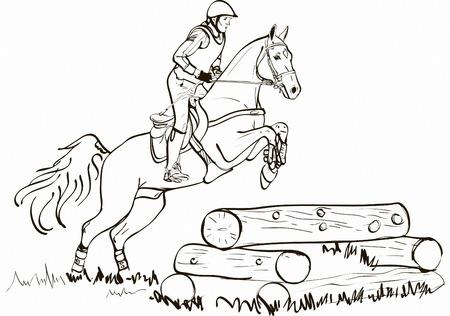 salto de valla: La superación de obstáculos para esquí de fondo en el símbolo del caballo del vector. Caballo campo a través de salto, caballo y jinete que salta sobre la cerca vigas ilustración vectorial, Deporte ecuestre Vectores