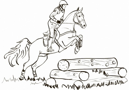 endurance run: Overcoming of cross country obstacles in horse symbol vector. Horse cross country jumping, horse and rider jumping over fence beams vector illustration, Equestrian sport Illustration