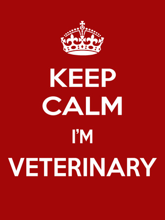 Vertical rectangular red-white motivation im veterinarian poster based in vintage retro style Keep clam Illustration
