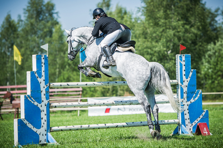 The rider on the white show jumper horse overcome high obstacles in the arena for show jumping on background blue sky
