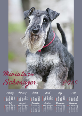 Wall Calendar Poster for the 2018 Year with a dog. Week Starts Sunday