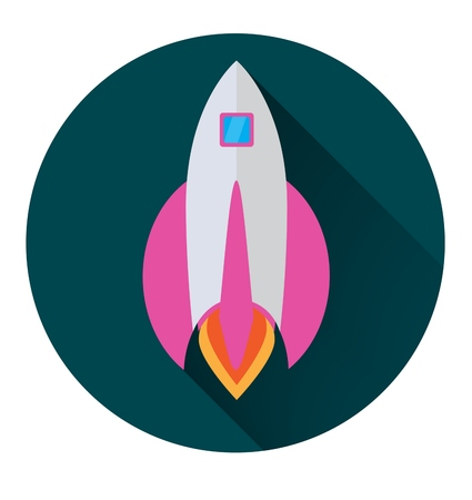 Rocket icon in flat style in a green circle with a long shadow conceptual of start ups or take off of a business or project. Ilustrace