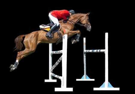 Equestrianism: Man in jumping show, isolated on black background