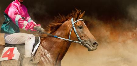 Jokey on a thoroughbred horse runs on color background Reklamní fotografie