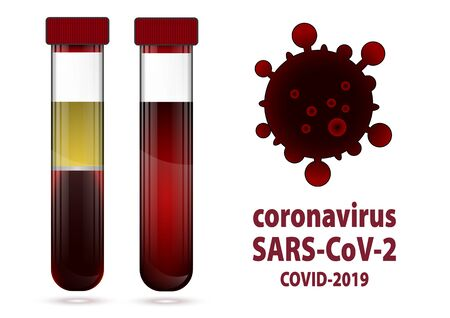 Two test tube with blood and serum with label COVID-19 向量圖像