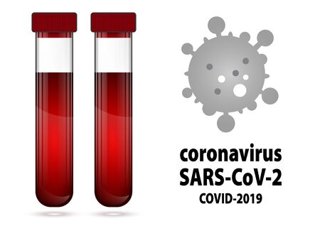 Test tube with blood with label COVID-19 illustration