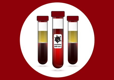 Three test tube with blood and serum with label COVID-19 向量圖像
