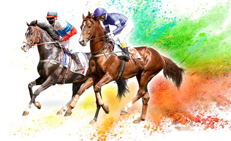 Four racing horses neck to neck in fierce competition for the finish line