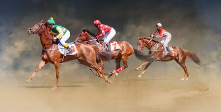 jockey horse racing isolated on color background