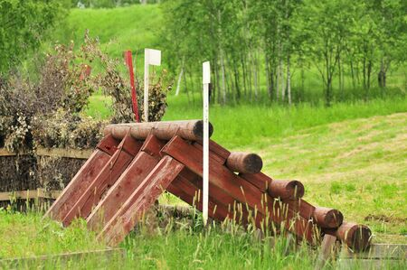 A cross-country a Log fences obstacles in a cross country event Imagens