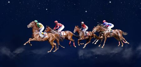 Five Jokey on a thoroughbred horse runs isolated on white background