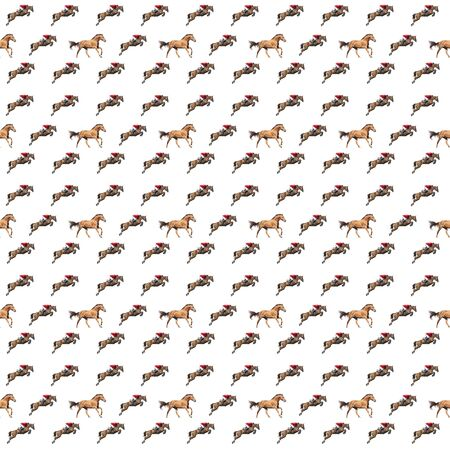 Seamless pattern photo red horse creative illustration. Banco de Imagens