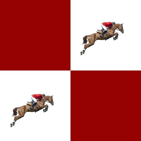 Seamless pattern red and white. Photo show jumping horse creative illustration. Banco de Imagens
