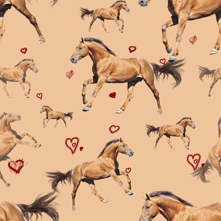 Seamless pattern photo red horse with hearts on beige background creative illustration. Banco de Imagens