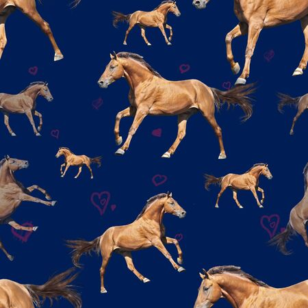 Seamless pattern photo red horse with hearts on blue background creative illustration. Banco de Imagens