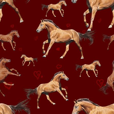 Seamless pattern photo red horse with hearts on red background creative illustration.