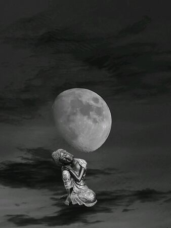 Meditation in the clouds with the moonlight