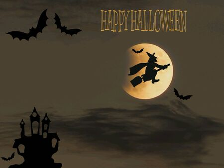 Halloween card with full moon and bats