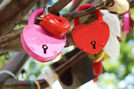 wedding lock, happy and love, objects in the park. Stock Photo