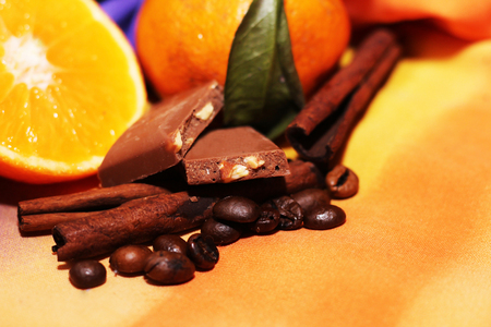 orange and cinnamon sweet dark chocolates happy new year stock photo 70731846