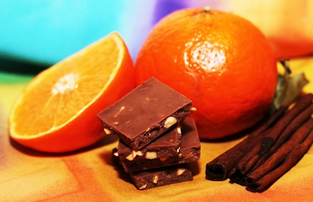 orange and cinnamon sweet dark chocolates happy new year stock photo 70731847