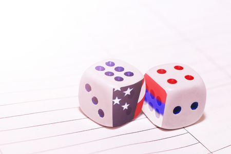 two white dices, America and Russia, object
