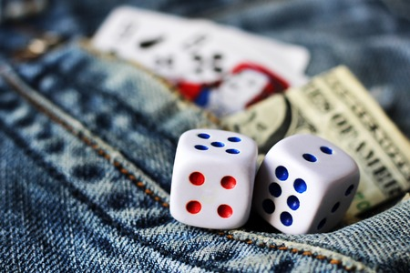 cubes playing in jeans, finance and toys