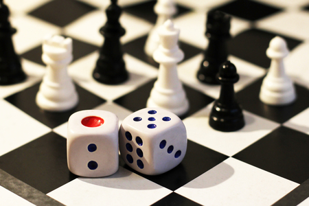 The dice and chess, childrens play, game Stock Photo