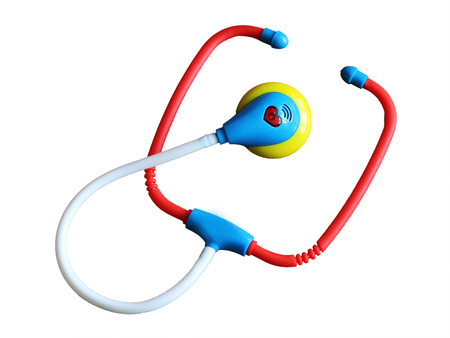 stethoscope in medicine, game for kids, plastic object Stock Photo