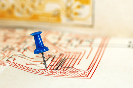 Pushpin on the drawing or diagram, workflow, office Stock Photo