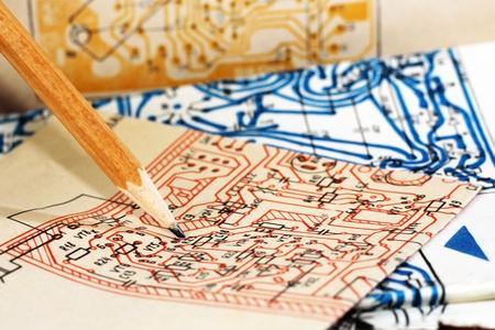 Pencil in engineering drawing, work plan paper