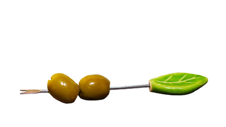 Green olives isolated on white background, food