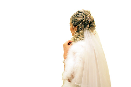 The bride from behind, isolated on white background. Happy. Stock Photo