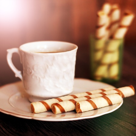 gressins: Beautiful sweet sticks and cup of coffee, food