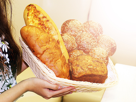 Assorted breads and baguettes, food toned, sunlight