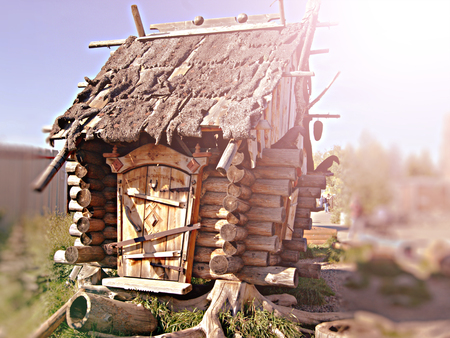 Hut Standing on Chicken Legs. Wooden House Fairy Grandmother Yaga, toned