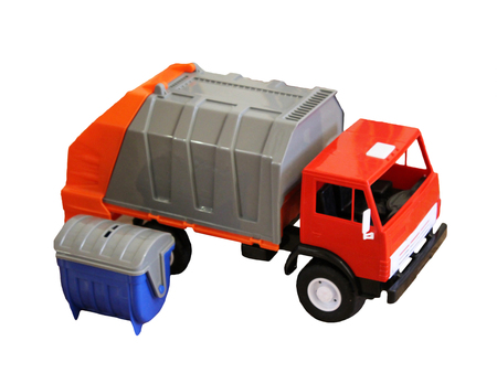 Vivid toy garbage truck from plastic isolated on white background Stock Photo
