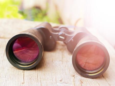 Big binoculars, beautiful reflection in glasses, object Stock Photo