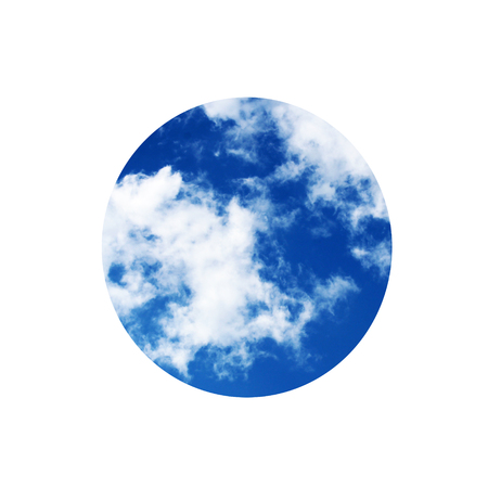 The circle of the sky in a white square, object