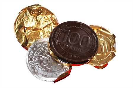 Russian chocolate coins isolated on white background, sweet