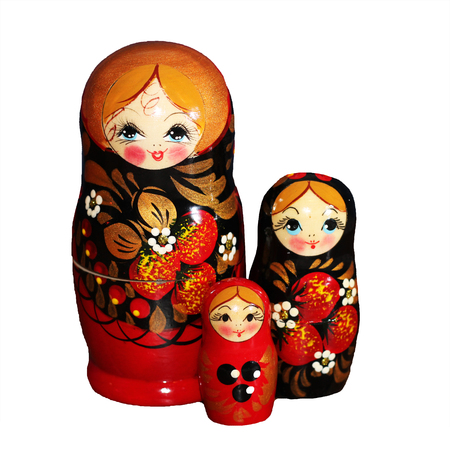 beautiful russian doll on white background, wooden toy Stock Photo