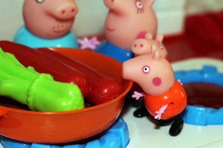 Russia, Izhevsk February 4, 2018 Toy Peppa pigs object Stock Photo