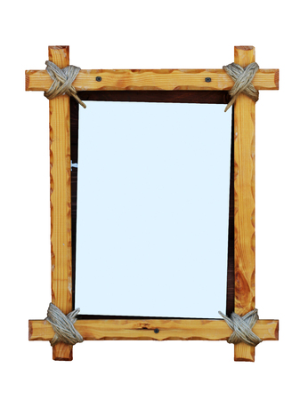 Wood frame isolated on white background. Copy space. Stock Photo